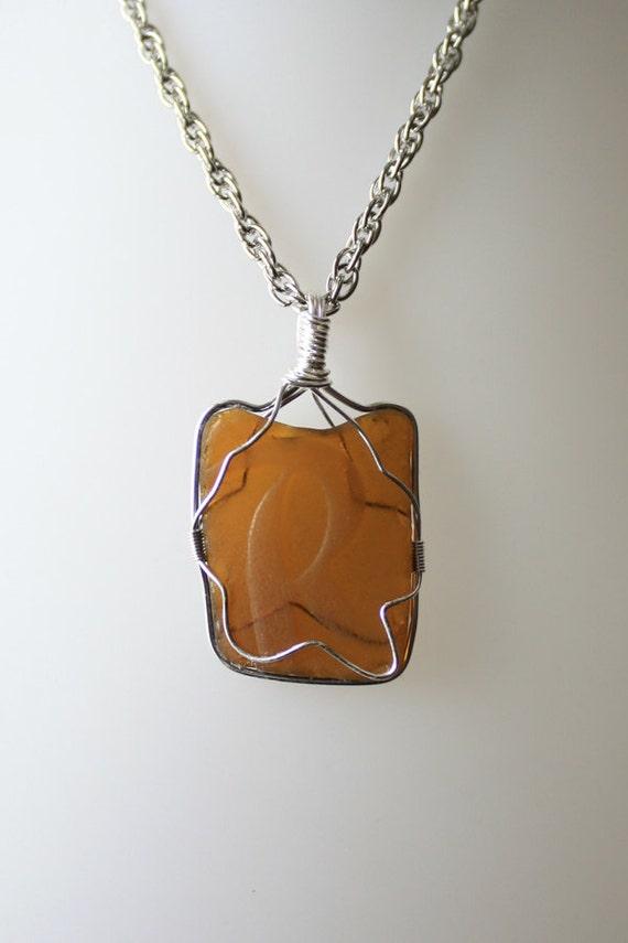 "Coolest Rainier ""R"" Brown Sea Glass Pendant You've Ever Seen"