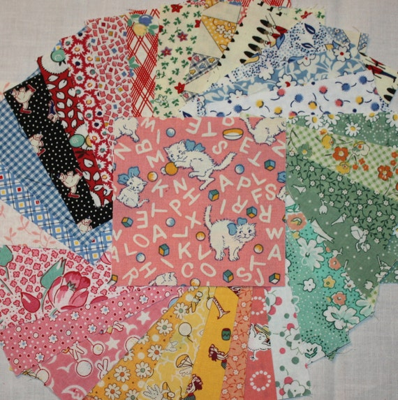 1930 Reproduction Fabric Charm Squares -  30 four inch squares