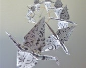 Origami Crane Mobile Children Decor Baby Mobile Art Mobile Nursery Home Decor Music White Teacher - Eco Friendly