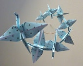 Origami Crane Mobile Baby Mobile Children Decor Eco Friendly Art Mobile Baby Nursery Home Unique Nature Blue Birds