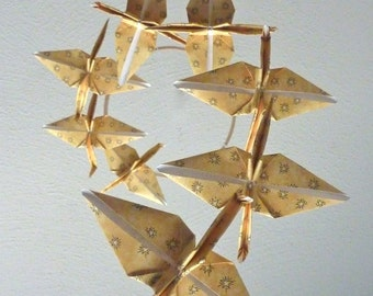 Eco Friendly / Baby Mobile / Origami Crane Mobile / Children Decor / Art Mobile / Folk Art Baby Nursery Yellow Star