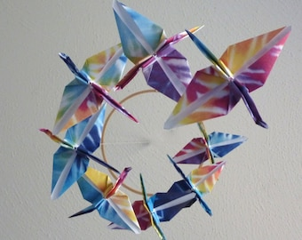 Origami Crane Mobile Baby Mobile Children Decor Eco Friendly Nursery Home Unique Rainbow Tie Dye Birds Kids Teen
