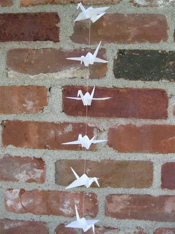 Origami - String of White Paper Cranes - Eco Friendly - Children Decor - Wedding - Party Decorations - Home Decor