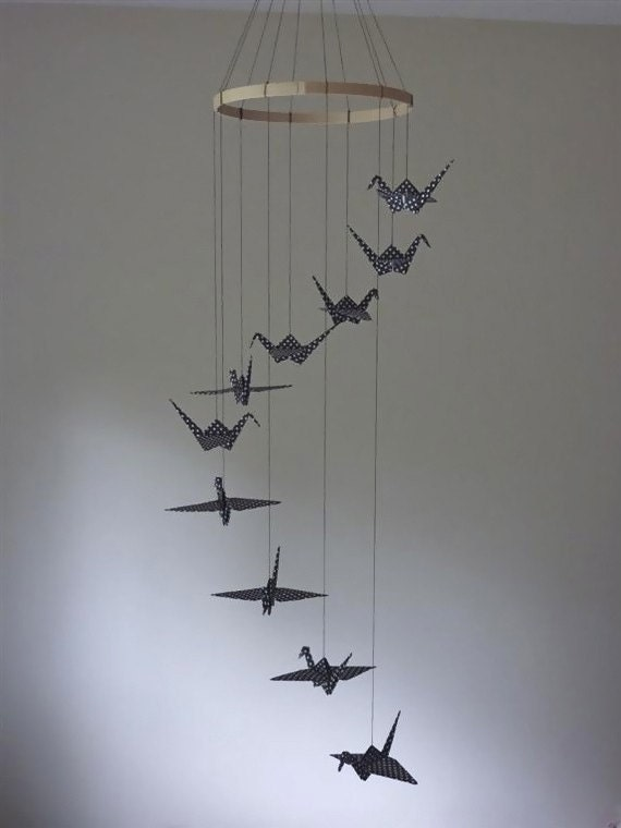 Origami crane mobile children decor baby mobile nursery home for Mobili wooden art