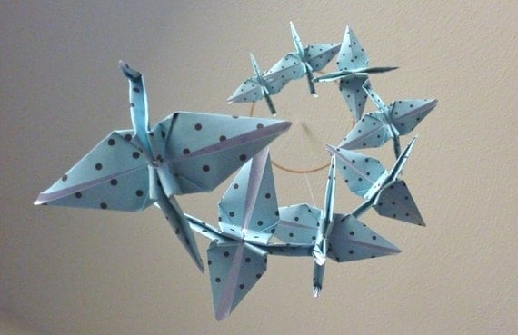 HOLIDAY SALE - Origami Crane Mobile Baby Mobile Children Decor Eco Friendly Art Mobile Baby Nursery Home Unique Nature Blue Birds