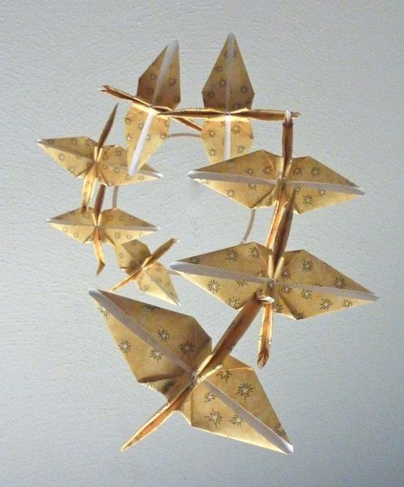 SUMMER SALE - Eco Friendly / Baby Mobile / Origami Crane Mobile / Children Decor / Art Mobile / Folk Art Baby Nursery Yellow Star