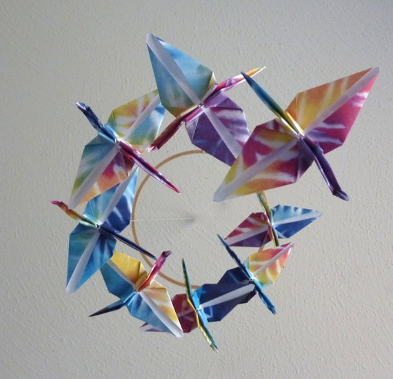 Origami Crane Mobile Baby Mobile Children Decor Eco Friendly Nursery Home Unique Rainbow Tie Dye Birds Kids Teen