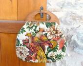 Vintage 1950s 1960s LES FAISANS Fabric Handbag.