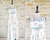 Vintage 1970s PRINTEMPS Ecru Cotton Maxi Dress