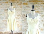 Vintage 1950 L.FRIEDLI Cotton Yellow Roses Printed Dress