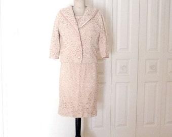 Vintage 1960s AUDREY PARIS  Dress and Jacket Dusky Pink Lace Set