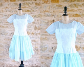 Vintage 1950s / 1960s Light Blue Dress with White Dots