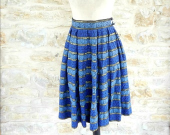 Vintage 1950s Blue Black and Gold Skirt