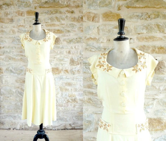 Vintage 1940s Yellow Linen Dress With Embroidery