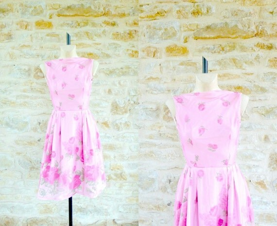 Robe Rose Garden Party Vintage 1960 / Taille XS S