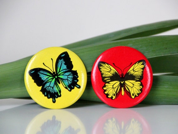 Set of two Vintage USSR pins, butterflies