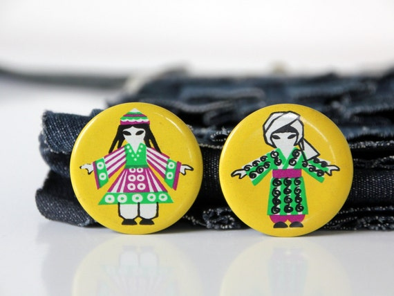 National costumes of Tajikistan, set of two vintage badges, made in USSR