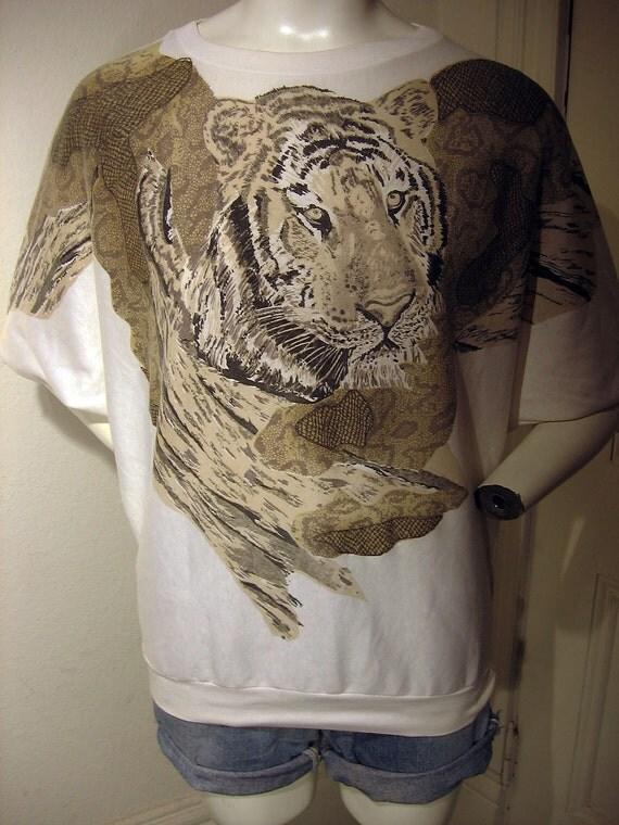1980's TIGER animal print punk glitter nature striped wild retro jungle party top sz M/L