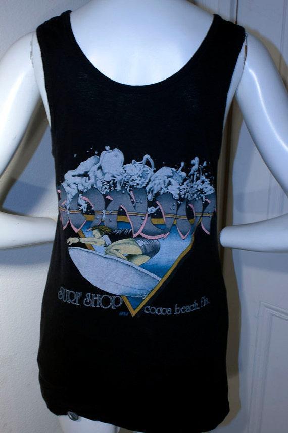 1980's RON JON surf shop Cocoa Beach FL surfer wave hawaiian island outdoor aloha sports vacation summer hipster long tank top shirt sz S/M