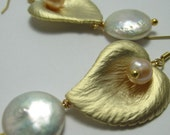 SALE - Heart Shaped Gold Leaf with Freshwater Coin Pearl on Gold Vermeil Ear Hooks - Earrings