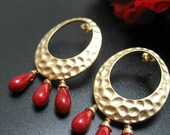 Red Coral Smooth Briolettes and Golden Circular Pendant - Post Earrings