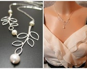 Two Sterling Silver Leaves and Freshwater Pearls in STERLING SILVER - Necklace