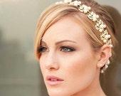 Jacqueline - Stunning Golden Rhinestone and Pearl Ribbon Headband