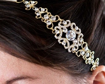 Crystal Headband - Crystal Headpiece - Wedding Headband - Wedding Headpiece - Bridal Headband - Bridal Headpiece - Gold Headband - SOPHIA