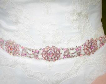 Pink Sash - Bridal Belt - Bridal Sash - Pink Belt - Wedding Sash - Wedding Belt - Prom Belt - Prom Sash - Crystal Sash - MICHELLE