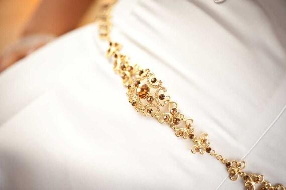 Reserved for Jenn- Deposit - Sophia - Vintage Style Rhinestone Bridal Belt - Gold / Topaz (Last one)