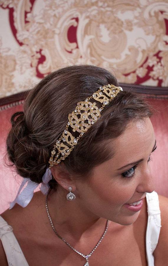 Michelle - Large Vintage style Gold Jeweled Ribbon Headband