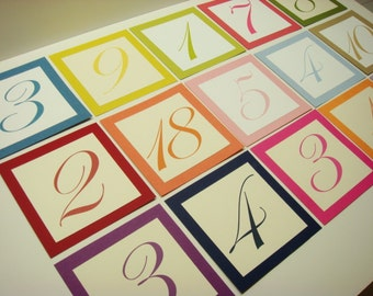 Wedding Table Numbers Create Your Own Custom Table Numbers in Your Wedding Colors