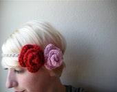 Double Rose Crochet Headband