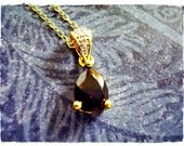 Tiny Genuine Garnet Teardrop Pendant Necklace in Diamond Accented Vermeil with a Delicate 18 Inch Vermeil Cable Chain