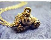 Gold Pumpkin Carriage Necklace - Antique Gold Pewter Pumpkin Carriage Charm on a Delicate Gold Plated Cable Chain or Charm Only