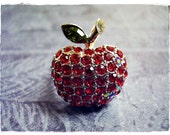 Red Apple Crystal Encrusted Pave Cocktail Ring in Rhodium Silver