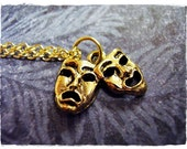 Gold Theatre Masks Necklace - Antique Gold Pewter Theatre Masks Charm on an Gold Plated Cable Chain or Charm Only
