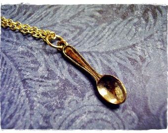 Tiny Golden Spoon Necklace - Antique Gold Pewter Spoon Charm on a Delicate Gold Plated Cable Chain or Charm Only