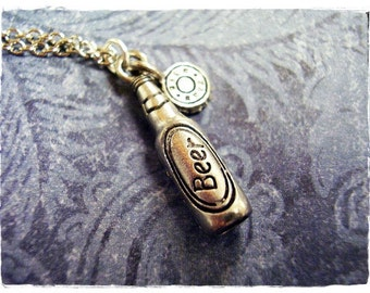 Silver Beer Bottle Necklace - Antique Pewter Beer Bottle Charm on a Delicate Silver Plated Cable Chain or Charm Only