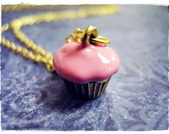 Pink Cupcake Necklace - Pink Enameled Antique Gold Pewter Cupcake Charm on a Delicate Gold Plated Cable Chain or Charm Only