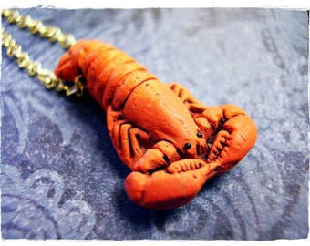 Lobster Necklace - Red Ceramic Lobster Bead on a Delicate Gold Plated Cable Chain or Bead Only