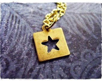 Gold Star Outline Necklace - Antique Brass Star Outline Charm on a Delicate Gold Plated Cable Chain or Charm Only