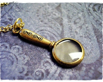 Gold Magnifying Glass Necklace - Antique Gold Pewter Magnifying Glass Charm on a Delicate Gold Plated Cable Chain or Charm Only