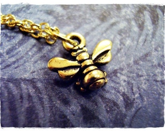 Tiny Gold Honeybee Necklace - Antique Gold Pewter Honeybee Charm on a Delicate Gold Plated Cable Chain or Charm Only