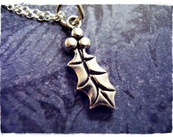 Silver Holly Leaf Necklace - Sterling Silver Holly Leaf Charm on a Delicate Sterling Silver Cable Chain or Charm Only