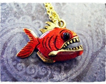 Red Piranha Necklace - Red Enameled Antique Gold Pewter Piranha Charm on a Delicate Gold Plated Cable Chain or Charm Only