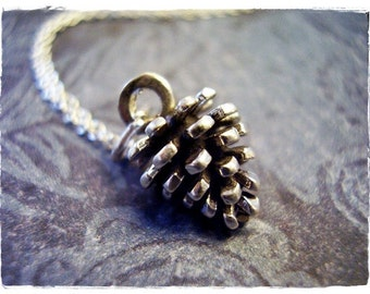 Silver Pine Cone Necklace - Sterling Silver Pine Cone Charm on a Delicate Sterling Silver Cable Chain or Charm Only