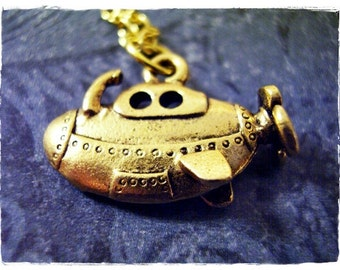 Gold Submarine Necklace - Antique Gold Pewter Submarine Charm on a Delicate Gold Plated Cable Chain or Charm Only
