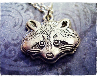 Silver Raccoon Face Necklace - Antique Pewter Raccoon Face Charm on a Delicate Silver Plated Cable Chain or Charm Only