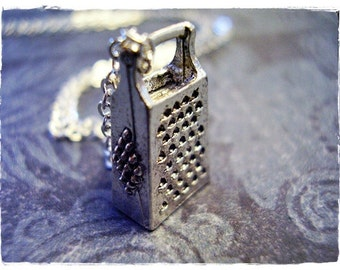 Silver Cheese Grater Necklace - Silver Pewter Cheese Grater Charm on a Delicate Silver Plated Cable Chain or Charm Only